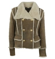 Balmain Balmain Shearling Double Breasted Pea Coat