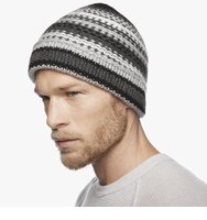James PerseChunky Cashmere Stripe Beanie