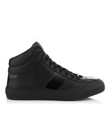 Jimmy Choo Belgravia Black Nappa And Patent High Top Trainers