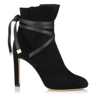 Jimmy Choo Dalal 100 Black Cashmere Suede Ankle Booties With Leather Strap Detail