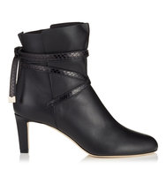 Jimmy Choo Dalal 65 Black Calf Leather Ankle Booties With Elaphe Strap Detail