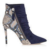 Jimmy Choo Dayton 100 Navy Suede And Violet Blue Painted Python Ankle Booties