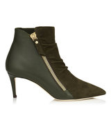 Jimmy Choo Dayton 65 Army Green Suede And Calf Ankle Booties