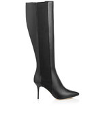 Jimmy Choo Faith 85 Black Shiny Leather Stretch Knee High Boots