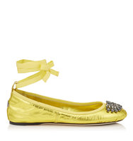 Jimmy Choo Grace Flat Acid Yellow Metallic Nappa And Grosgrain Ribbon Ballerina Flats