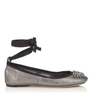 Jimmy Choo Grace Flat Anthracite Metallic Nappa And Grosgrain Ribbon Ballerina Flats