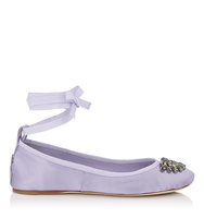 Jimmy Choo Grace Flat Lilac Satin And Grosgrain Ribbon Ballerina Flats