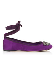 Jimmy Choo Grace Flat Madeline Satin And Grosgrain Ribbon Ballerina Flats