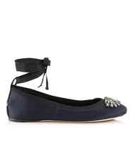Jimmy Choo Grace Flat Navy Satin And Grosgrain Ribbon Ballerina Flats