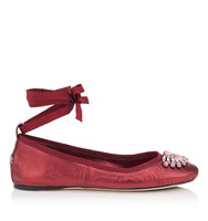 Jimmy Choo Grace Flat Poppy Metallic Nappa And Grosgrain Ribbon Ballerina Flats