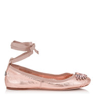 Jimmy Choo Grace Flat Tea Rose Metallic Nappa And Grosgrain Ribbon Ballerina Flats