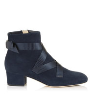 Jimmy Choo Heat 45 Navy Suede And Metallic Printed Leather Ankle Boots