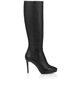 Jimmy Choo Hoxton 100 Black Grainy Calf Leather Knee High Boots