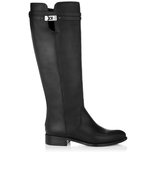 Jimmy Choo Hyson Black Matt Leather Knee High Flat Boots