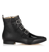 Jimmy Choo Marlin Black Textured Leather And Patent Ankle Boots