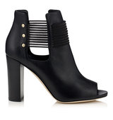 Jimmy Choo Mase 95 Black Soft Grainy Leather Ankle Booties