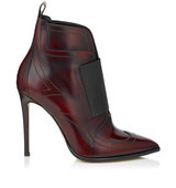 Jimmy Choo Mazzy 110 Bordeaux Shiny Leather And Black Elastic Ankle Booties
