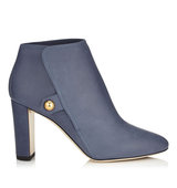 Jimmy Choo Medal 85 Violet Blue Waxed Soft Leather Booties