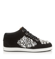 Jimmy Choo Miami Black Suede With Crystals Low Top Trainers