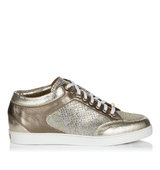 Jimmy Choo Miami Champagne Glitter Fabric And Suede Trainers