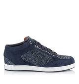Jimmy Choo Miami Navy Crackly Glitter Fabric Low Top Trainers