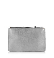 Jimmy Choo Rowen Platinum And Light Honey Metallic Nappa Mix Accessory Pouch