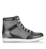Jimmy Choo Tokyo Anthracite Glitter And Mirror Leather Sneakers