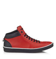 Jimmy Choo Varley Russian Red Sport Calf Leather High Top Trainers