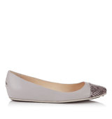 Jimmy Choo Waine Dove Leather With Metal Mesh Ballet Flats