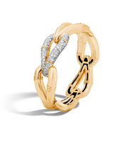 John Hardy Bamboo 215mm Hinged Bangle In 18k Gold With Diamonds