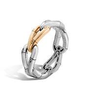 John Hardy Bamboo 215mm Hinged Bangle In Silver And 18k Gold