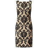 Adrianna Papell Embroidered Lace Sheath Dress Black Nude