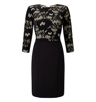 Adrianna Papell Lace And Scuba Sheath Dress Black Oyster