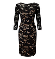 Adrianna Papell Lace Sheath Dress Black Pale Pink