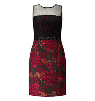 Adrianna Papell Lace Top Embellished Jacquard Sheath Dress Black Red