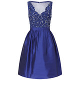 Adrianna Papell Short Beaded Taffeta Party Dress Neptune