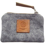 Butterfly Tree Wool Coin Purse Grey