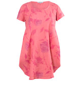 Chesca Floral Print Tunic Linen Dress Coral