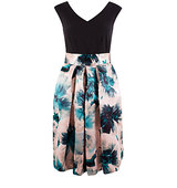 Closet 2 in 1 Contrast Floral Satin Skirt Dress Multi
