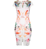 Closet Floral Slit Front Pencil Dress Multi
