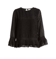 Max Studio Clip Dot Stripe Top Black