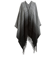 Max Studio Ombre Poncho Black Grey