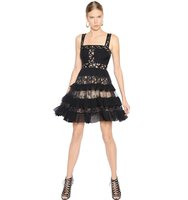 Ruffled Crepe Georgette Lace Dress