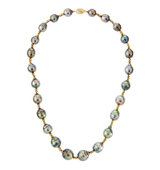 14k Baroque Tahitian Pearl Pyrite Necklace
