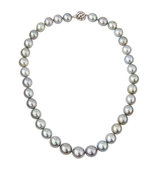 14k Graduated Tahitian Silver Pearl Necklace