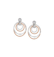 14k Two Tone Diamond Circle Drop Earrings