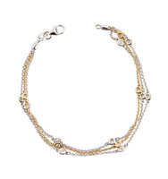 14k Two Tone Floating Diamond Bracelet