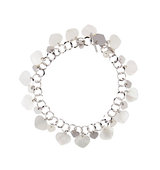 18k White Gold Mother of Pearl Heart Charm Bracelet w Diamonds