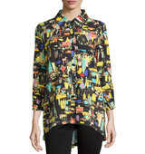3 4 Sleeve Button Front Printed Shirt