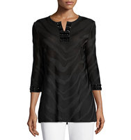 3 4 Sleeve Embellished Burnout Tunic Top